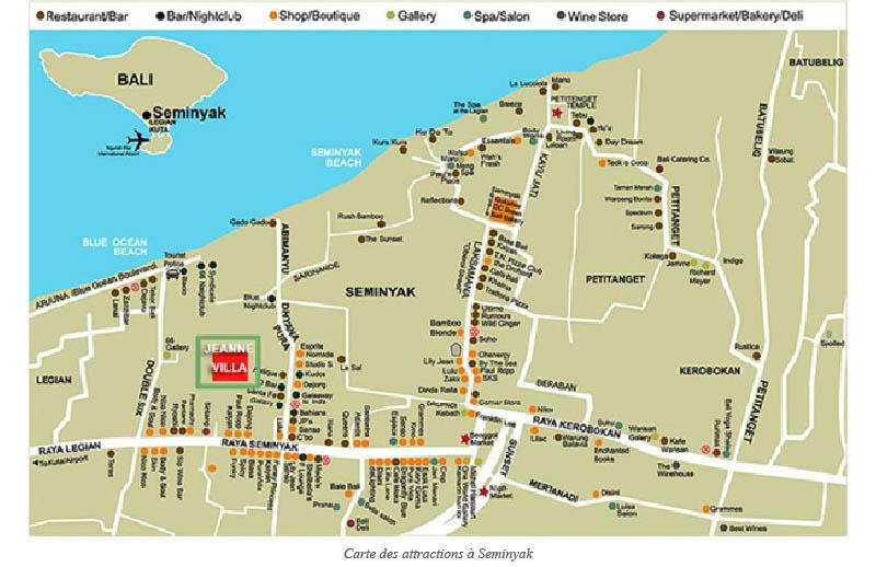Carte des attractions à Seminyak